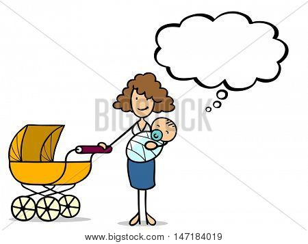 Cartoon single mother with baby and thought bubble thinking