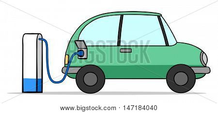 Charging cartoon electric car battery on a gas station