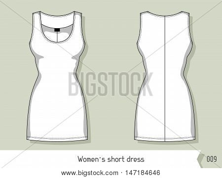 Women short dress. Template for design, easily editable by layers.