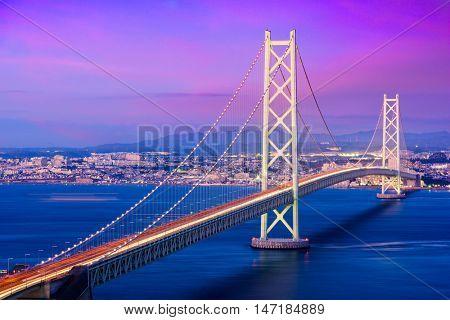 Akashi Kaikyo Bridge spanning the Seto Inland Sea from Awaji Island to Kobe, Japan.