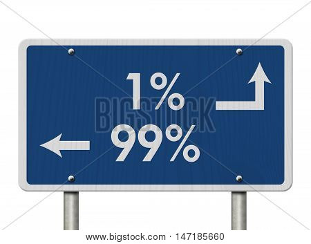 The 1% ers versus the 99% er Blue Road Sign with text 1% and 99% isolated over white, 3D Illustration