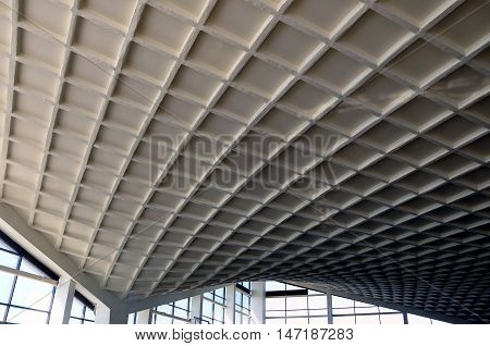 Grodno, Belarus - September 8, 2016: Cable-stayed-span overlap of a building with a filling of the caisson concrete slabs. Grodno, Belarus.