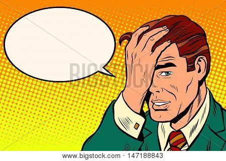 Retro man remembered something, pop art retro vector illustration. The pose of the thinker. comic bubble