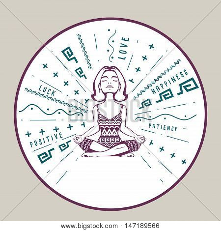 Good vibes charm with woman meditation pose. Vector illustration. Motivation poster with positive happy love feelings for excellent health. Young woman practicing yoga.