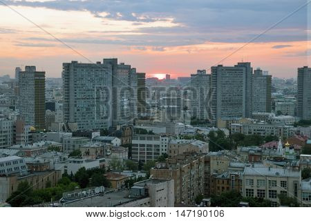 Residential area and buildings of New Arbat Street in center of Moscow, Russia during sunset