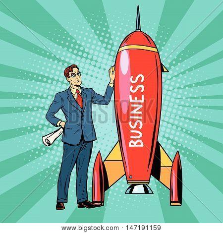 Business start up rocket, pop art retro vector illustration