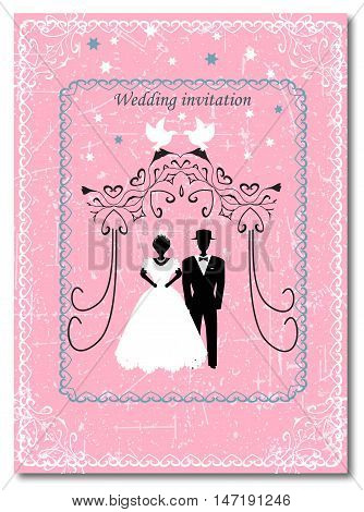 Invitation to the Huppah. Pink invitation to a Jewish wedding. Bride and groom.