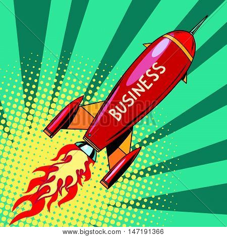 business startup rocket, pop art retro vector illustration