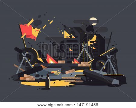 Barricades on fire. Pile of debris, tires and molotov cocktails. Vector illustration