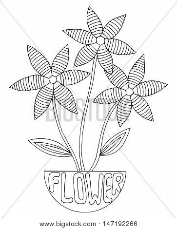 Abstract flower with leaves for adult or child coloring book and pages. Mono color black line art element for design.