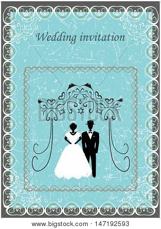 Invitation to the Huppah. invitation to a Jewish wedding. Bride and groom.