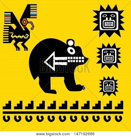 Ethnic pattern of American Indians: Aztecs, Mayans, Incas. Bear and eagle. Drawing in the Mexican style. Vector illustration.