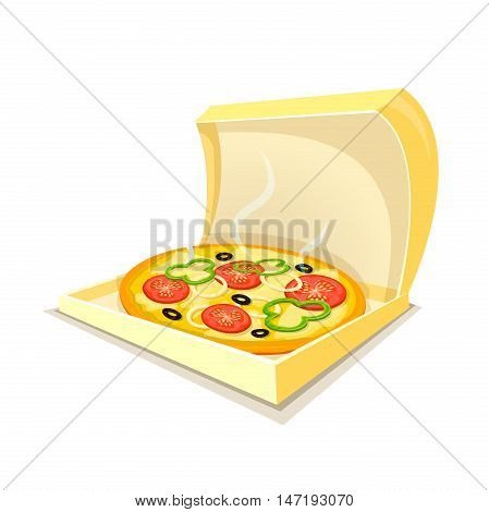 Hot fragrant pizza in open box, fast food delivery logo, vector illustration