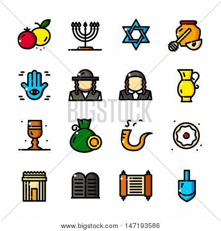 Thin line Judaism icons set, Jewish symbols outline logos vector illustration