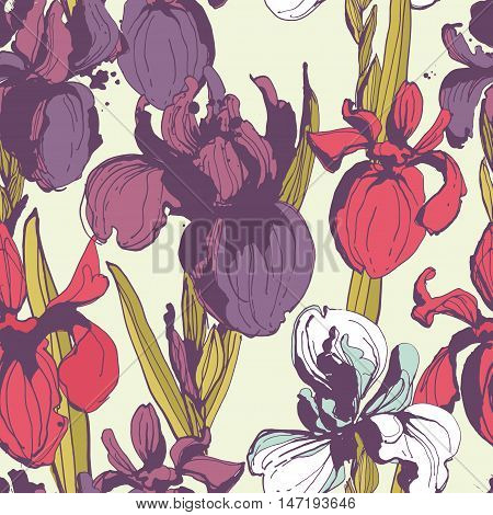 Floral Flower Iris Seamless Hand Drawn Pattern.colored Ink Splat