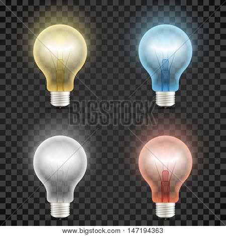 Set of colored transparent realistic glass light bulbs isolated on dark checkered background. Vector illustration