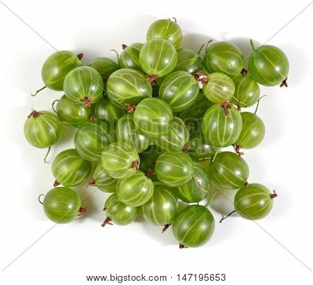 Heap Of Fresh Green Gooseberry Close Up On A White