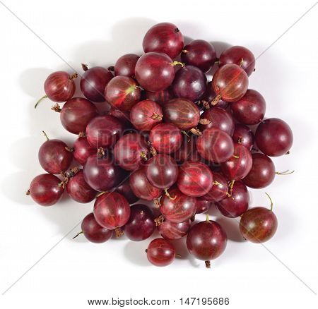 Heap Of Fresh Red Gooseberry Close Up On A White