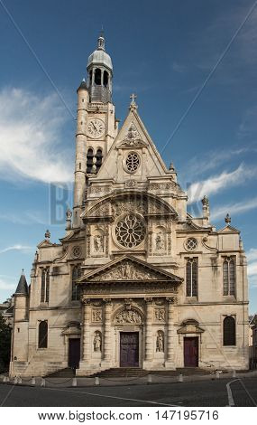 The Saint Etienne du Mont is a church in Paris France located on the montagne Saint Genevieve near the Pantheon.It contains the shrine of St. Genevieve the patron saint of Paris.