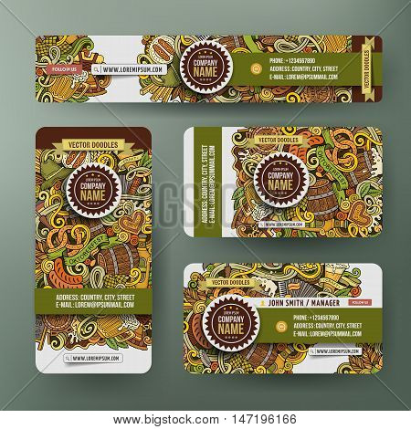 Corporate Identity vector templates set design with doodles hand drawn Octoberfest theme. Colorful banner, id cards, flayer design. Templates set