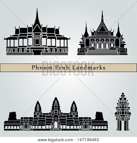 Phnom Penh landmarks and monuments isolated on blue background in editable vector file