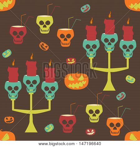 Halloween party seamless pattern. Evil pumpkins, human skulls as candlesticks and goblets with drinking straws. Crazy variegated vector illustration for festive design