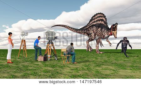 Computer generated 3D illustration with movie crew, Spinosaurus and Homo Habilis