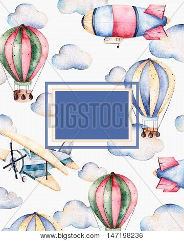 Beautiful watercolor pre-made template card with place for text and air balloons,clouds,airship and the plane in pastel colors.
