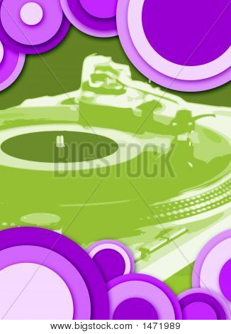 turntable - dj's vinyl player with circle decoration poster
