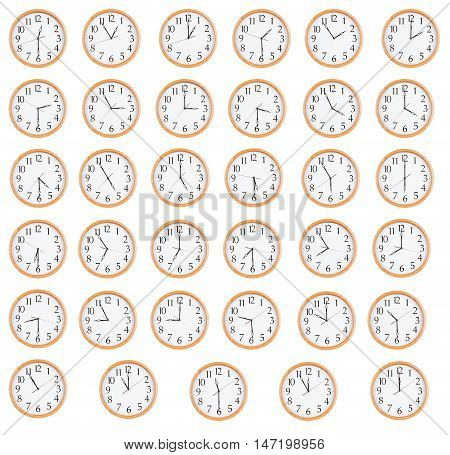 Many round clocks show different time on the dials