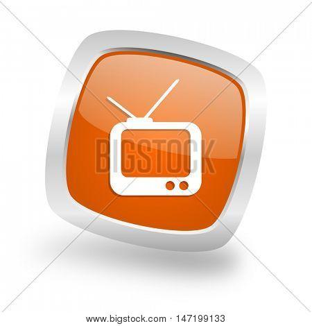 tv square glossy orange chrome silver metallic web icon