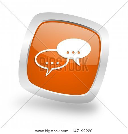 forum square glossy orange chrome silver metallic web icon