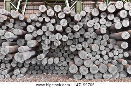 The steel billet in the factory warehouse
