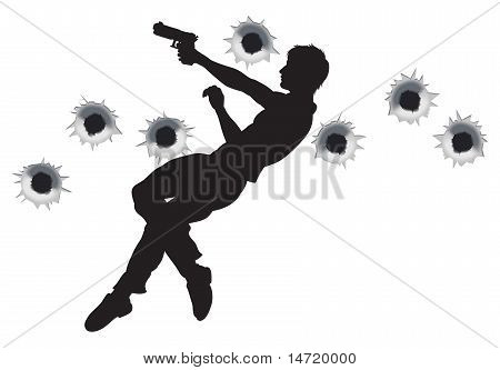 Action Hero In Gun Fight Silhouette