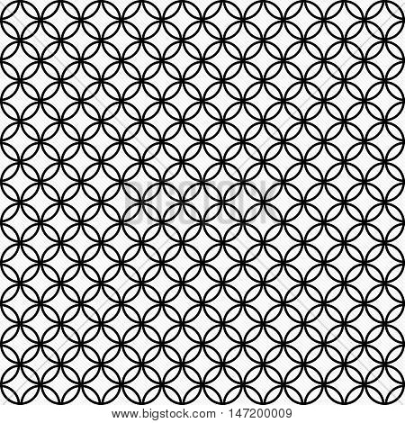 Black and White Circles Tile Pattern Repeat Background that is seamless and repeats