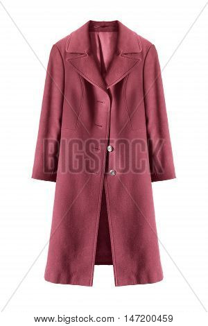 Pink wool topcoat isolated over white background