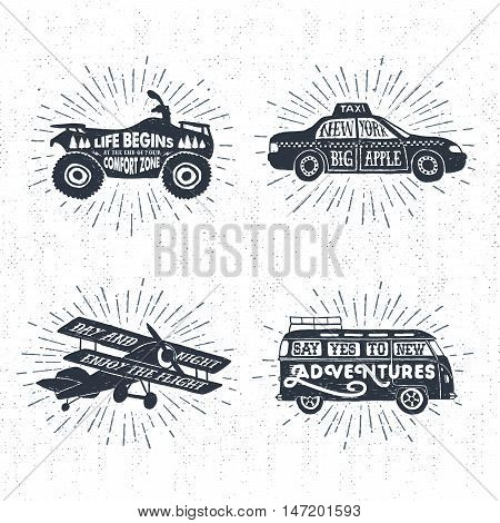 Hand drawn textured vintage labels set with quad bike taxi biplane van and lettering vector illustrations.