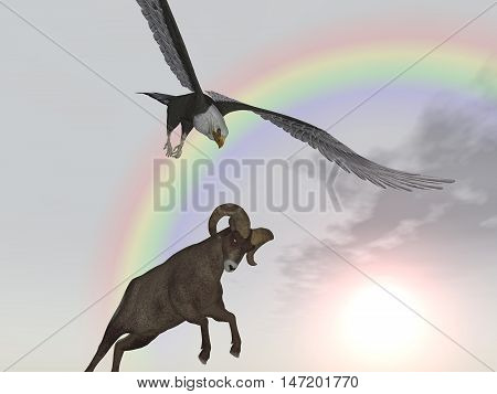 Computer generated 3D illustration with a sea eagle attacking a bighorn sheep