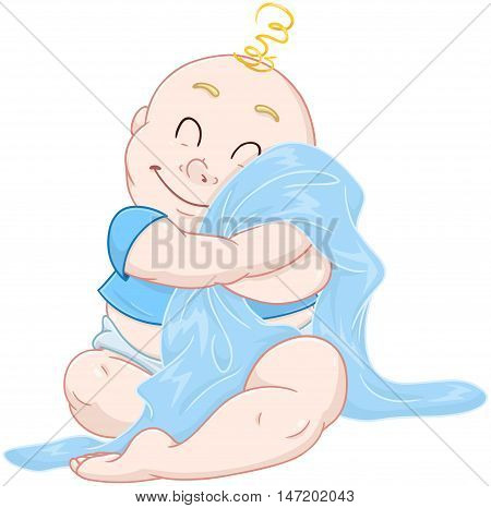 Vector illustration of a cute baby boy hugging a blue blanket.