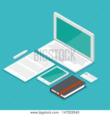 mockup isometric set laptop. Stock vector. Vector illustration.