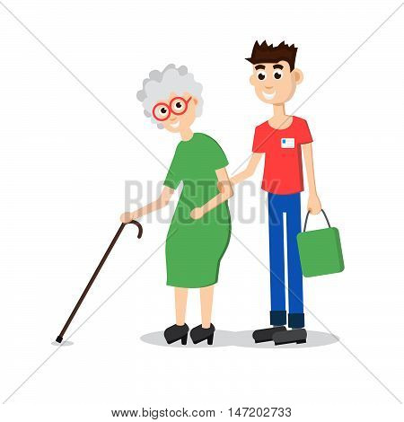 Man helping elder. Boy helps old lady. Flat style vector illustration