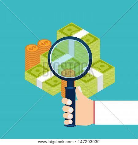 Businessman Examining Economic Statistic, Web Analytics. Financial Examiner. Vector Illustration.