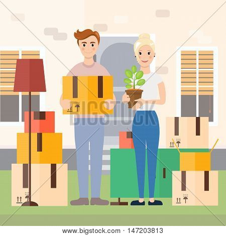 Housewarming, Young couple moving to new house vector illustration in flat design. Changing and buying dwelling, Home renovation, repair, buying or selling apartment, interior design and decoration concepts.
