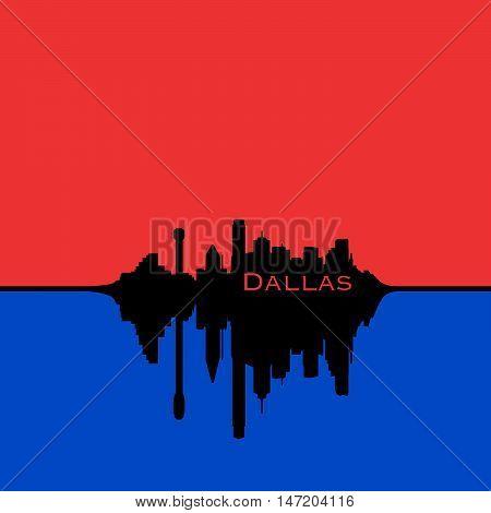 Dallas Texas City Skyline Red sky blue reflection