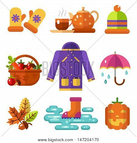 Flat design vector icons set of autumn symbols: umbrella, jacket, hat, mittens, rubber boots and puddle, basket of vegetables and fruits, scary pumpkin, leaves, acorn, hot drinks in cup and teapot.