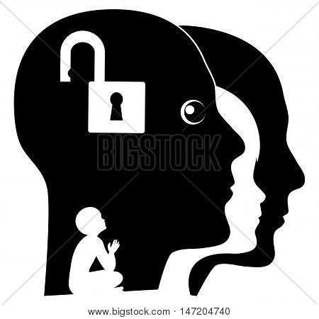 Unlock your Inner Child. Adult person searching for his childhood memories