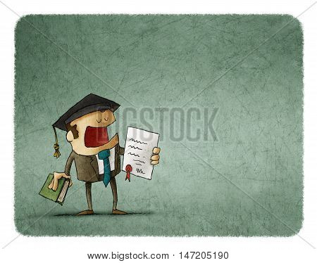 Successful student in graduation cap holding diploma and book.