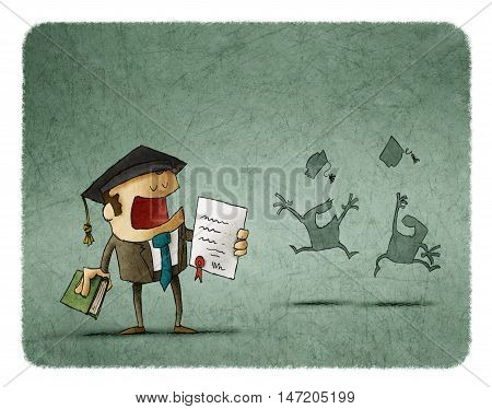 Successful student in graduation cap holding diploma and book. Silhouette of happy students throwing their hats up in the air.
