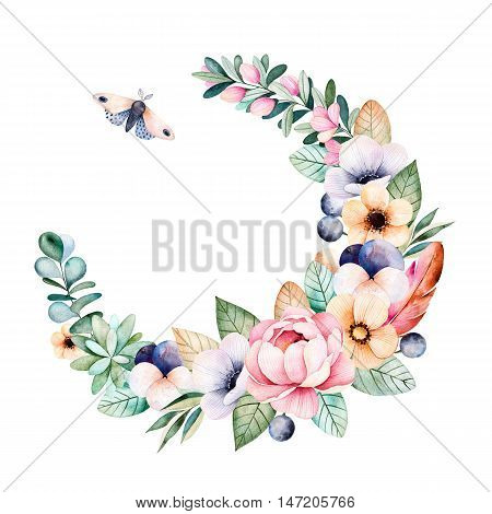Colorful floral pastel wreath with roses,flowers,leaves,succulent plant,branches,eucalyptus leaves,moth,pansy flower,feather and more.