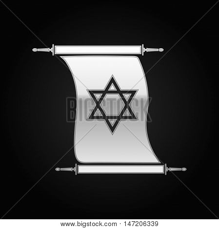 Silver Star of David on scroll icon to black background. Vector Illustration